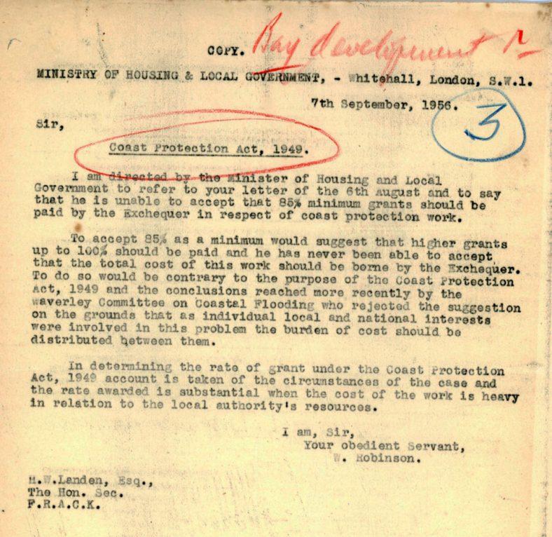 Letter explaining Coast Protection Subsidy. 1956