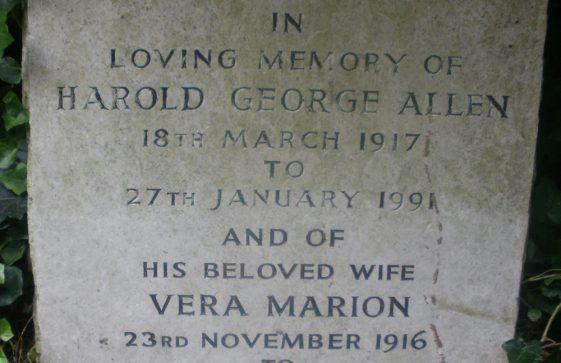 Gravestone of ALLEN Harold George 1991; ALLEN Vera Marion 2000