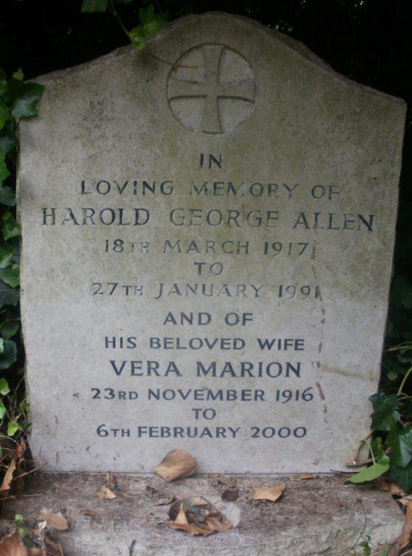 Gravestone of ALLEN Harold George 1991; ALLEN Vera Marion 2000 | Dawn Sedgwick