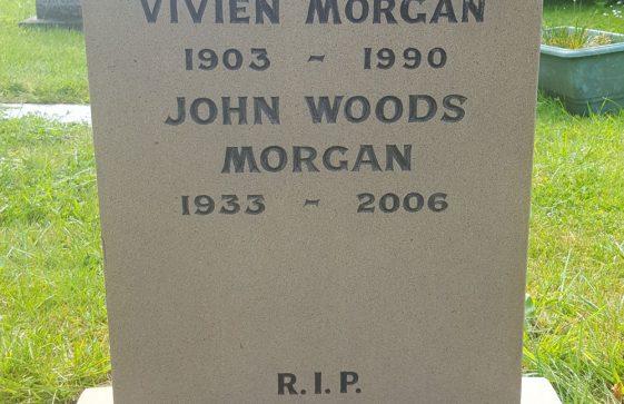 Gravestone of MORGAN Vivien 1990; MORGAN John Woods 2006