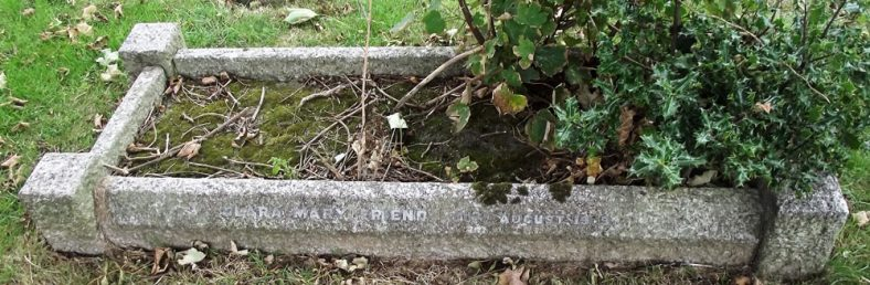 Gravestone of EYRE-CRABBE Mary Elizabeth 1955; FRIEND Clara Mary 1939   Dawn Sedgwick