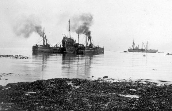 Patrol Vessel John Sherburn wrecked and being salvaged in St Margaret's Bay. 1915