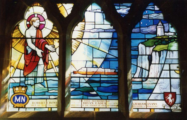 Internal view of Zeebrugge Memorial Window St Margaret's Church  - 26 February 1988