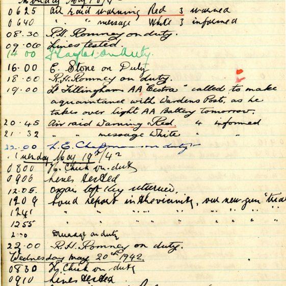 St Margaret's ARP (Air Raid Precautions) Log. Volume 5. 25 September 1941 - 17 July 1942. Pages 106 - 115