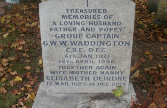 Gravestone of WADDINGTON Elizabeth Deirdre 2014; WADDINGTON George William Wray 1996