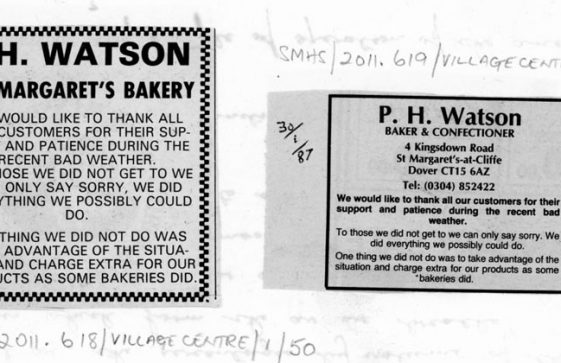 Notice issued by P H Watson (Baker's) re service during recent bad weather. January 1987