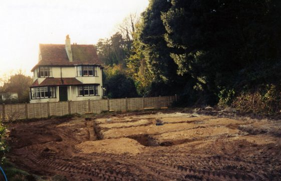A view of 'South Lawn', in Foreland Road, with the footings of a new build alongside. 1993
