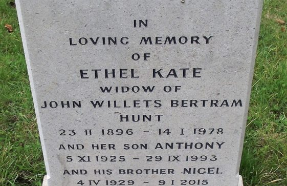 Gravestone of HUNT Ethel Kate 1978; HUNT Anthony 1993; HUNT Nigel 2015