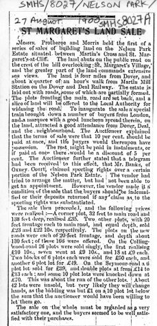 Two press cuttings concerning plots sold and others for sale at Nelson Park. 1900