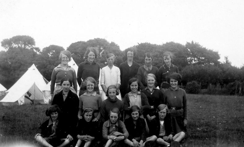 Annie Sharpe and Girl Guides at their camp. August 1938