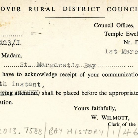 Correspondence on re-development and protection of St Margaret's Bay. 1950s