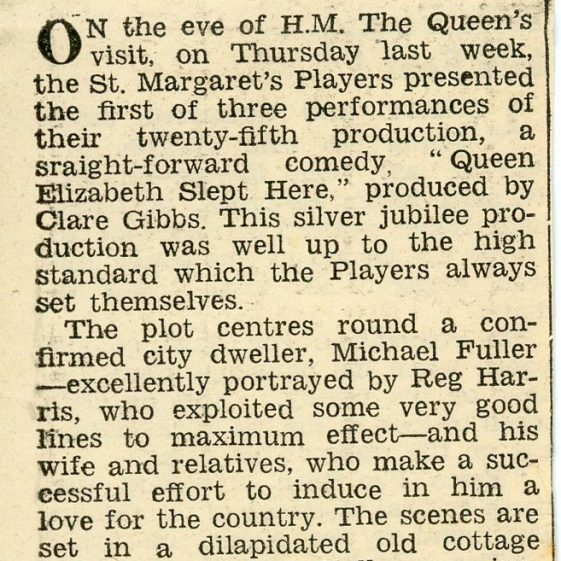 Press Reviews of the St. Margaret's Players production of 'Queen Elizabeth Slept Here'. 1958