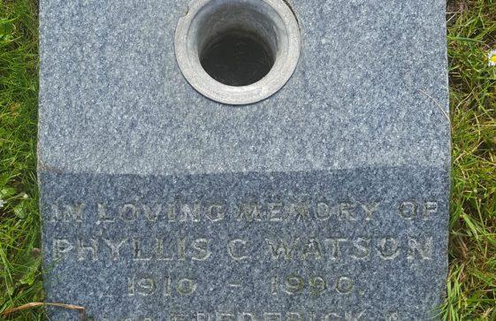 Gravestone of WATSON Phyllis Charlotte 1990; WATSON Frederick A 2002