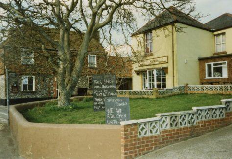 Watson's Baker's Shop, Kingsdown Road, closing down notice.  March 1995
