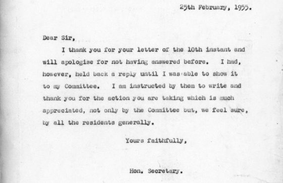 Correspondence between Residents and Ratepayers Association and PO Telephones re the hedge at the Repeater Station Bay Hill. 25 Feb 1955