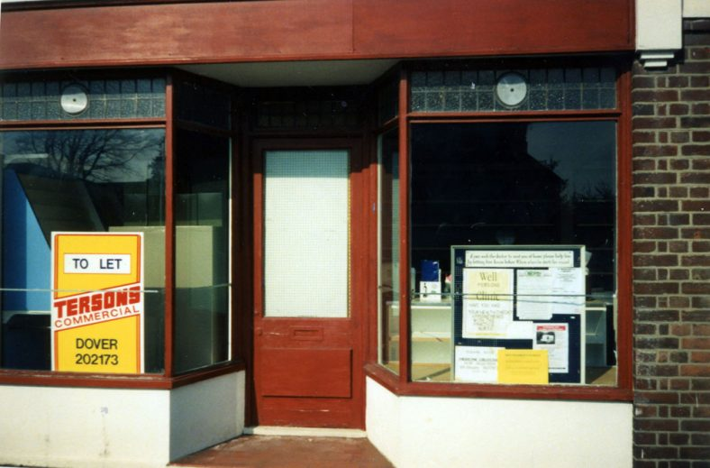 One of the old shops in The Droveway being used as a temporary Doctor's Surgery .1996