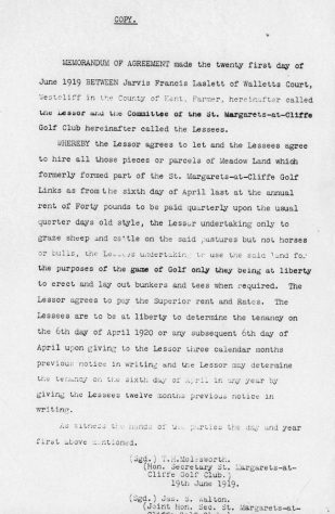 Memorandum of Agreement between Mr Laslett and St Margaret's Golf Club over the use of land. 1919