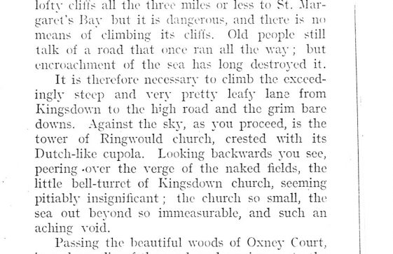 Extract from 'The Kentish Coast' by C J Harper c1914