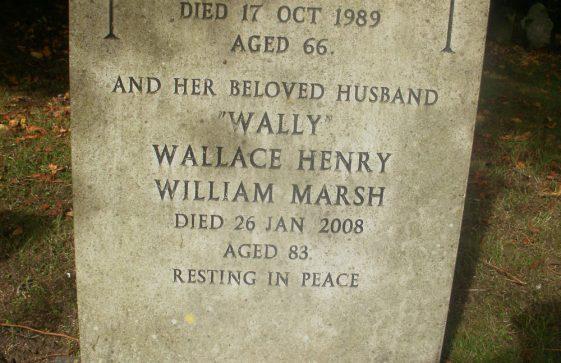 Gravestone of MARSH Wallace Henry William 2008; MARSH Mary Helen 1989