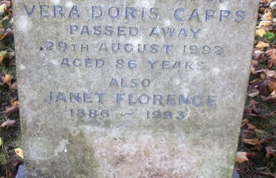 Gravestone of CAPPS Janet Florence 1993; CAPPS Vera Doris 1992