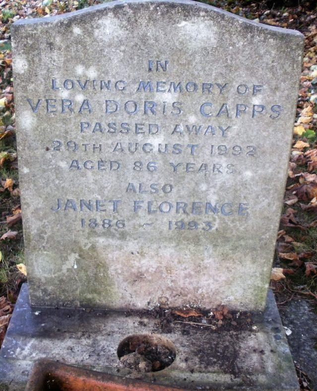 Gravestone of CAPPS Janet Florence 1993; CAPPS Vera Doris 1992   Dawn Sedgwick