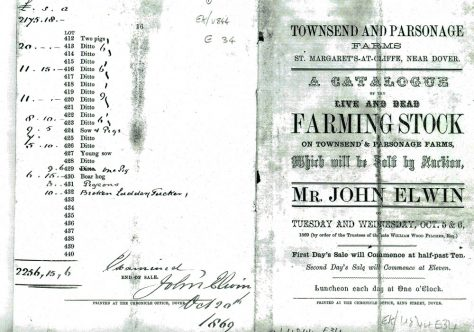 Catalogue of stock for sale at Townsend and Parsonage Farms. 5th and 6th October 1869