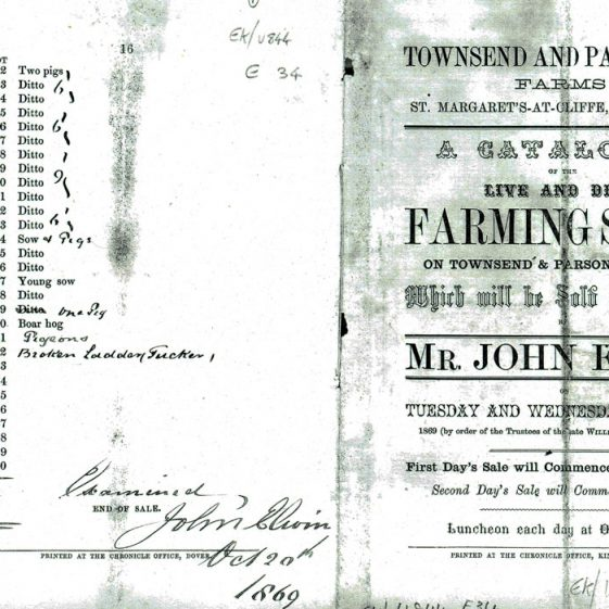 Catalogue of sale by auction of stock at Townsend and Parsonage Farms. 5/6 October 1869