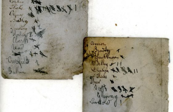 Pages with names and numbered check lists found in the former Cliffe House School