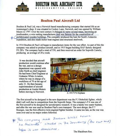 Information on Boulton Paul Aircraft. builder of La Maisonette, The Droveway.