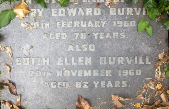 Gravestone of BURVILL Henry Edward 1960; BURVILL Edith Ellen 1960