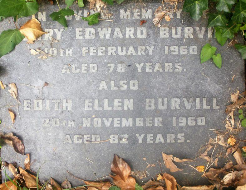 Gravestone of BURVILL Henry Edward 1960; BURVILL Edith Ellen 1960   Dawn Sedgwick