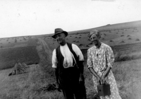 Annie Sharpe with her father at harvest time