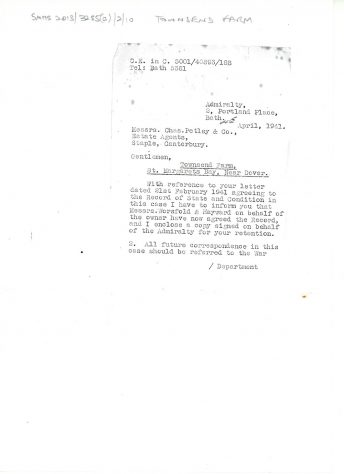 Letter from the Admiralty Office agreeing on condition of Townsend Farm after acquisition during WWII. 1941