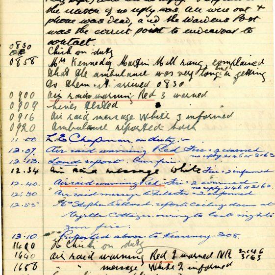 St Margaret's ARP (Air Raid Precautions) Log. Volume 6. 17 July 1942 - 16 February 1943. Pages 95-104