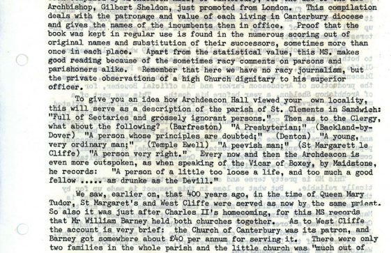 Article on the early history of the village church by V J Torr.  Undated