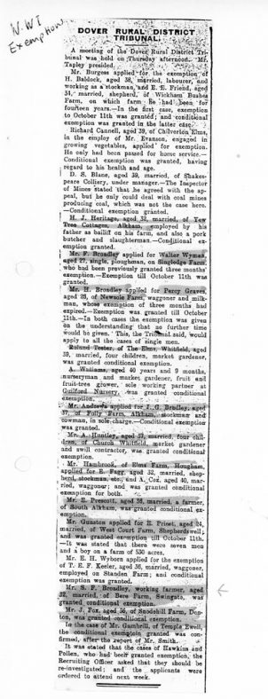 Dover RDC Tribunal decisions on exemptions from military service WW1