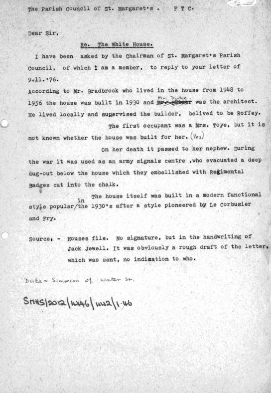 The White House, St Margaret's Road, letter from the Parish Council to an unknown person November 1976