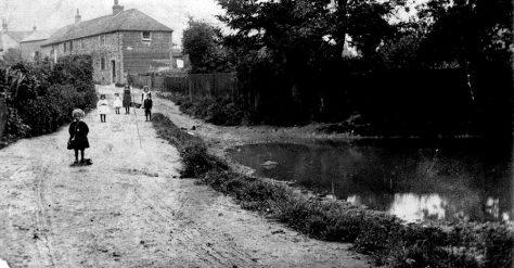 Chapel Lane pond and children.