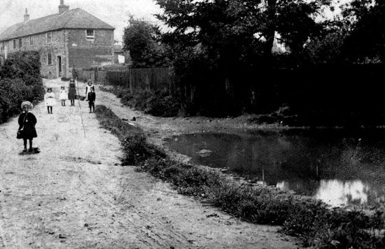 A view of children by the pond in Chapel Lane.