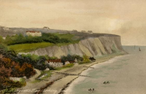 Watercolour of St Margaret's Bay and cliffs. c1900