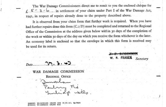 War Damage Form for wartime damage to Sunhill Bay Hill. 1943