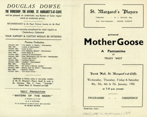 Programme of St Margaret's Players pantomime 'Mother Goose'. 1956