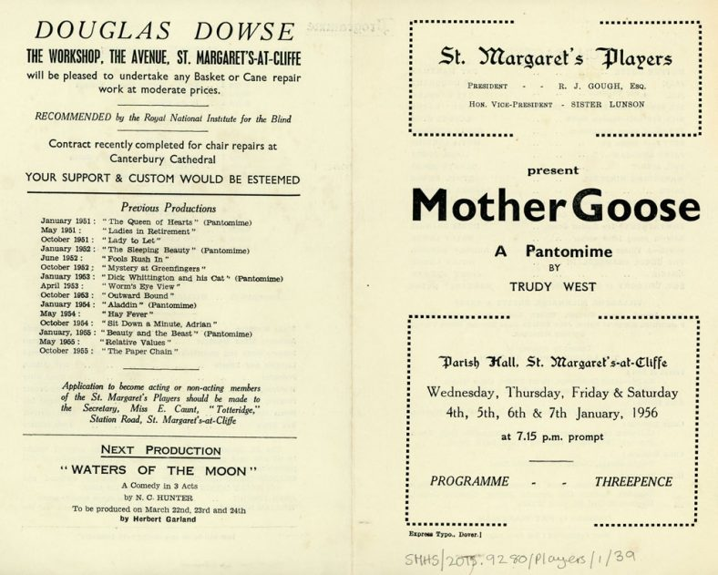 The Programme for the St. Margaret's Players  Pantomime 'Mother Goose'. 1956