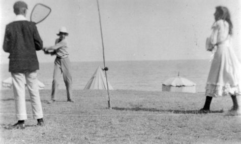 Bumble-Puppy or Swingball on the beach. 1906