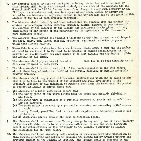Dover District Council Beach Plot Licences, Conditions and Charges 1975