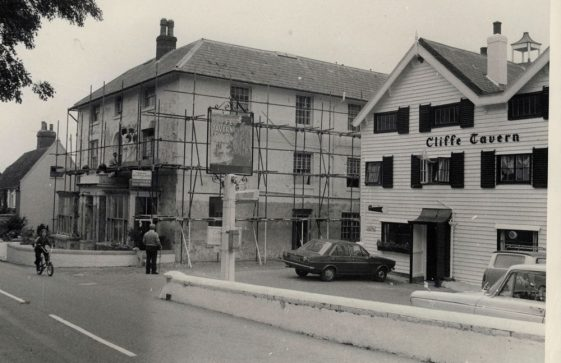 Cliffe Tavern and Cliffe House under repair. c1974