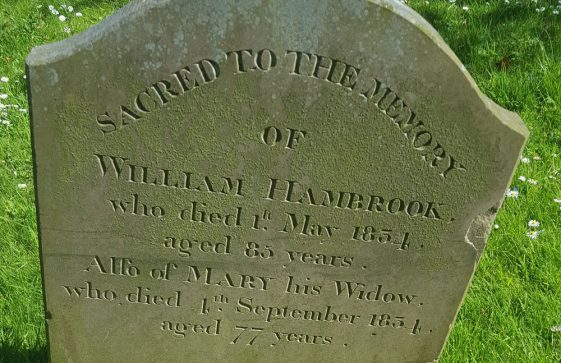 Gravestone of HAMBROOK William 1834; HAMBROOK Mary 1834