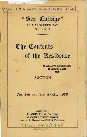 Sea Cottage Granville Road, auction list of contents. 1959