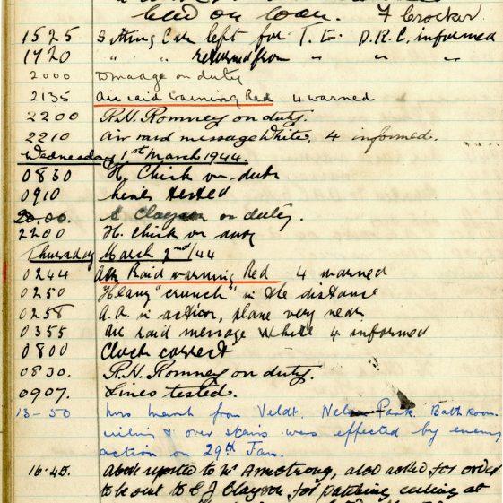 St Margaret's ARP (Air Raid Precautions) Log. Volume 8. 25 October 1943 - 10 August 1944. Pages 48-60