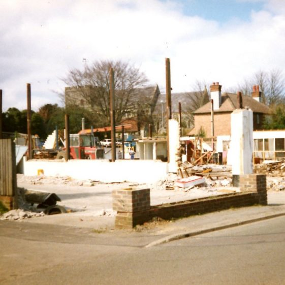 St Margaret's Motors, Reach Road, and its demolition. February 1988
